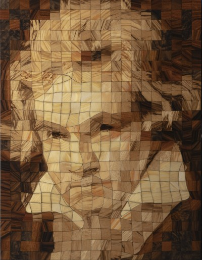 Ludwig van Beethoven - Portrait in Wood Pixels