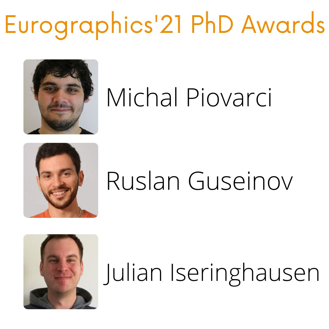 Eurographics'21 PhD Awards - Michal Piovarci, Ruslan Guseinov, Julian Iseringhausen